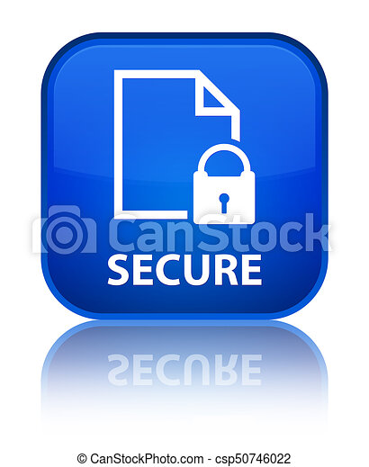 Secure (document page padlock icon) special blue square button - csp50746022