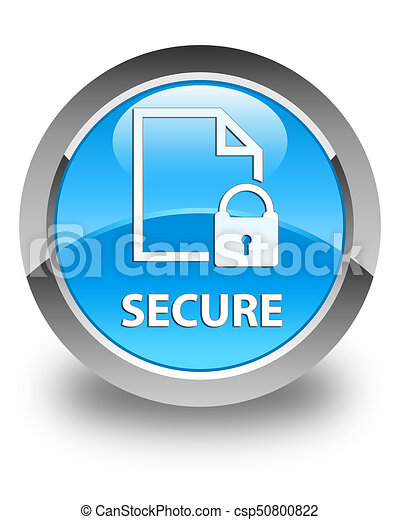 Secure (document page padlock icon) glossy cyan blue round button - csp50800822