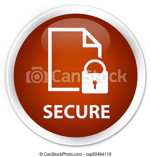 Secure (document page padlock icon) premium brown round button - csp50494119