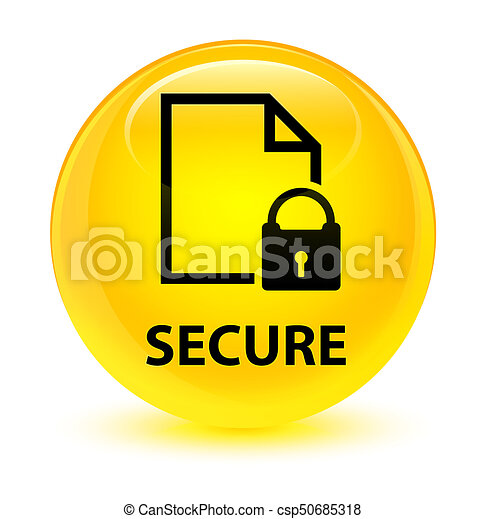 Secure (document page padlock icon) glassy yellow round button - csp50685318