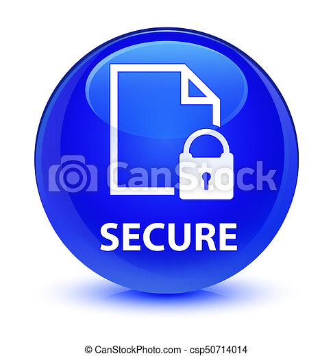 Secure (document page padlock icon) glassy blue round button - csp50714014