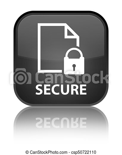 Secure (document page padlock icon) special black square button - csp50722110