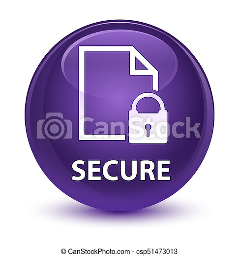 Secure (document page padlock icon) glassy purple round button - csp51473013