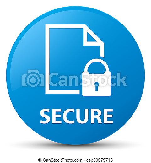 Secure (document page padlock icon) cyan blue round button - csp50379713