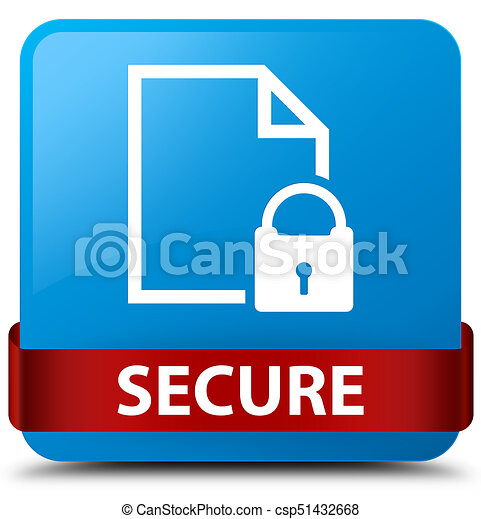 Secure (document page padlock icon) cyan blue square button red ribbon in middle - csp51432668