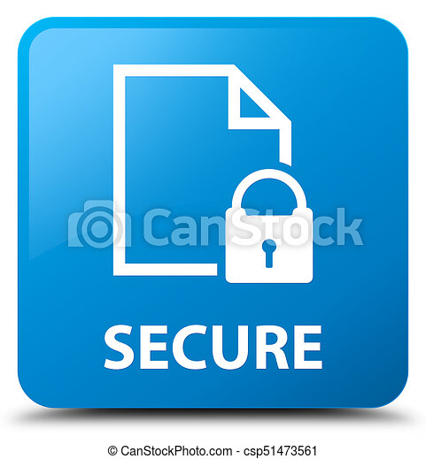 Secure (document page padlock icon) cyan blue square button - csp51473561
