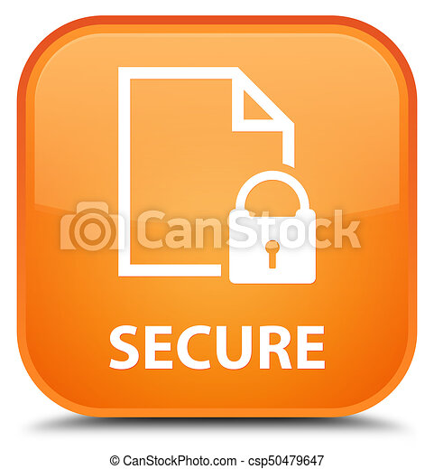 Secure (document page padlock icon) special orange square button - csp50479647