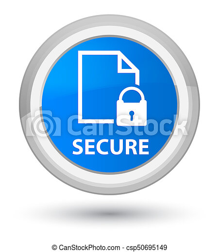 Secure (document page padlock icon) prime cyan blue round button - csp50695149
