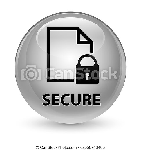 Secure (document page padlock icon) glassy white round button - csp50743405