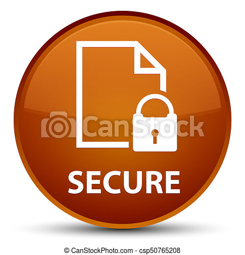 Secure (document page padlock icon) special brown round button - csp50765208