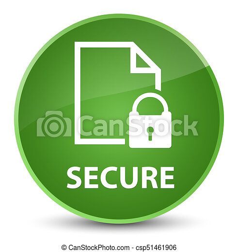 Secure (document page padlock icon) elegant soft green round button - csp51461906