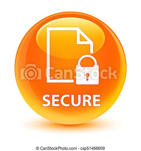 Secure (document page padlock icon) glassy orange round button - csp51466609