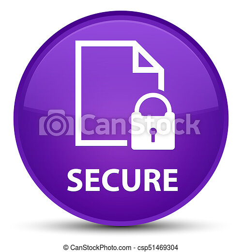 Secure (document page padlock icon) special purple round button - csp51469304