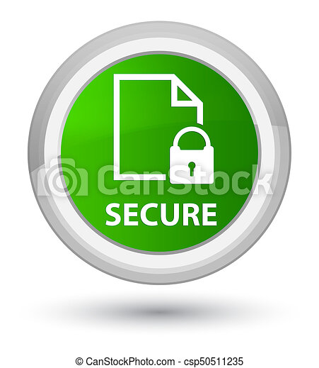 Secure (document page padlock icon) prime green round button - csp50511235