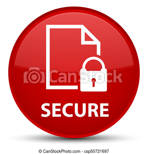 Secure (document page padlock icon) special red round button - csp50721697