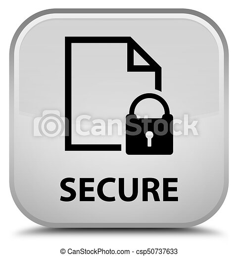 Secure (document page padlock icon) special white square button - csp50737633
