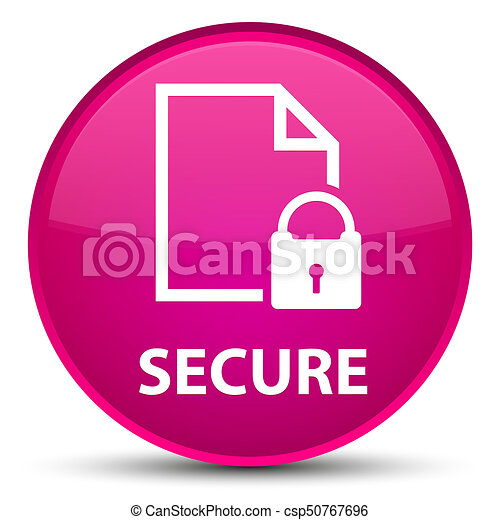 Secure (document page padlock icon) special pink round button - csp50767696