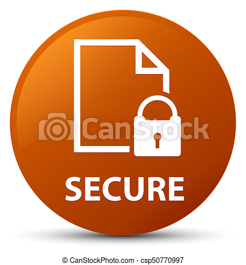 Secure (document page padlock icon) brown round button - csp50770997