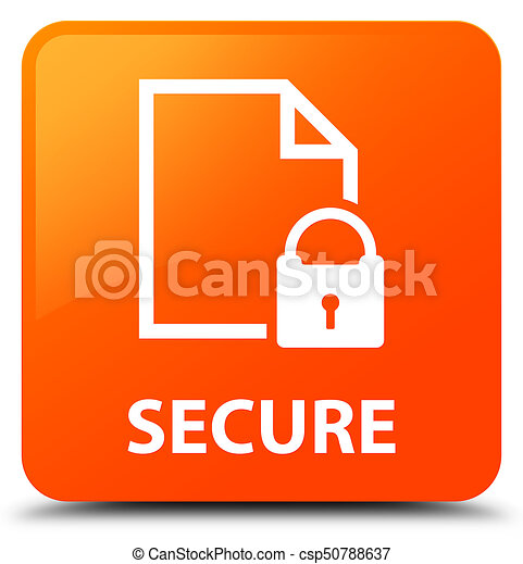 Secure (document page padlock icon) orange square button - csp50788637