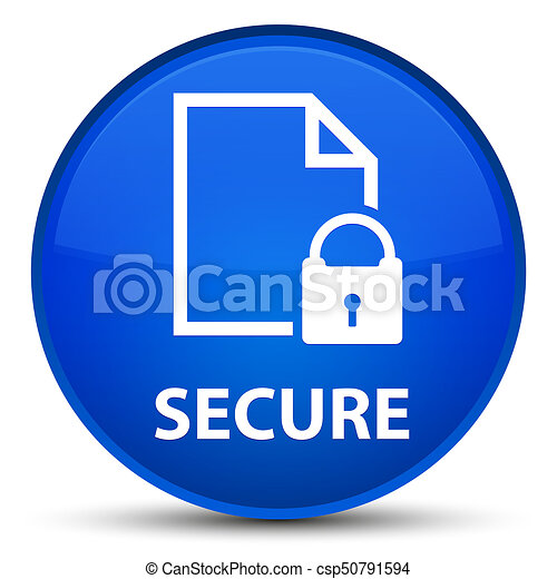 Secure (document page padlock icon) special blue round button - csp50791594