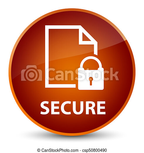Secure (document page padlock icon) elegant brown round button - csp50800490
