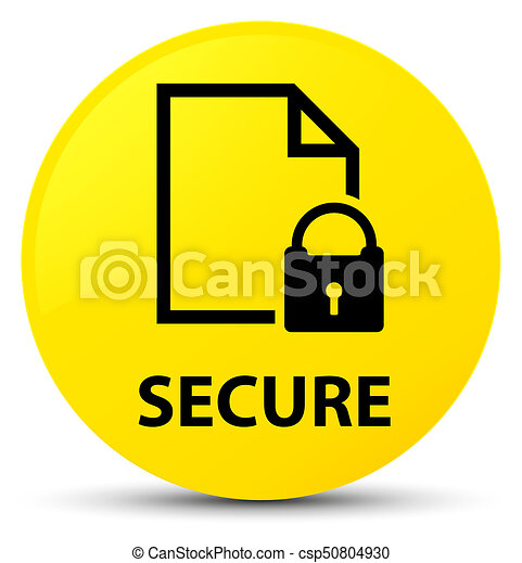 Secure (document page padlock icon) yellow round button - csp50804930
