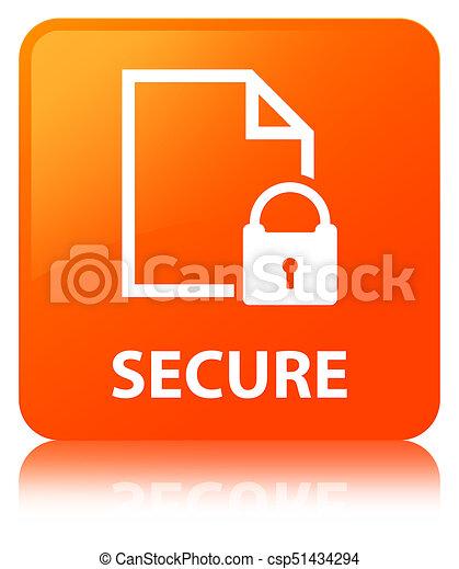 Secure (document page padlock icon) orange square button - csp51434294