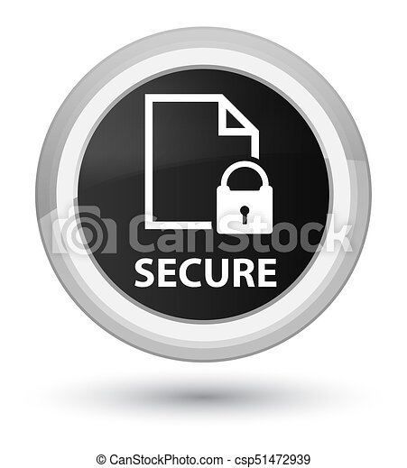 Secure (document page padlock icon) prime black round button - csp51472939