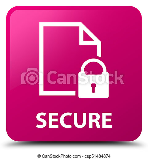 Secure (document page padlock icon) pink square button - csp51484874