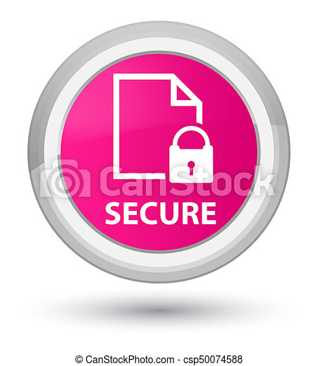 Secure (document page padlock icon) prime pink round button - csp50074588
