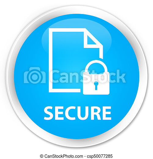 Secure (document page padlock icon) premium cyan blue round button - csp50077285