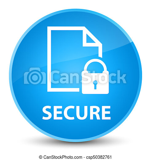 Secure (document page padlock icon) elegant cyan blue round button - csp50382761