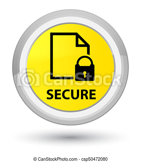 Secure (document page padlock icon) prime yellow round button - csp50472080