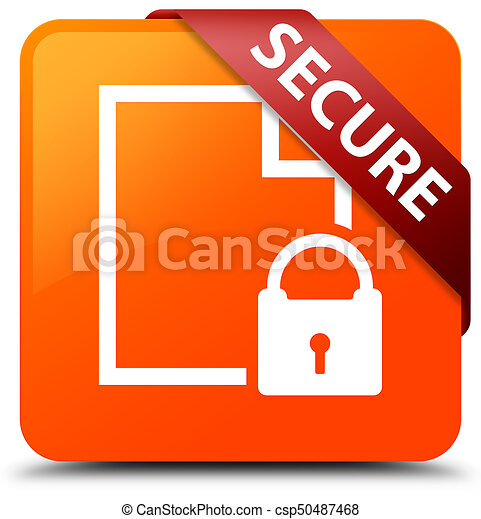Secure (document page padlock icon) orange square button red ribbon in corner - csp50487468