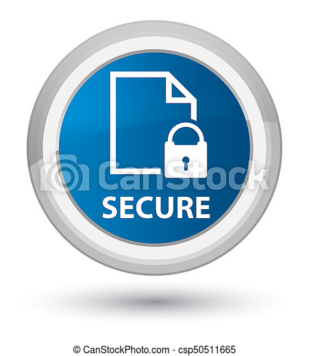 Secure (document page padlock icon) prime blue round button - csp50511665