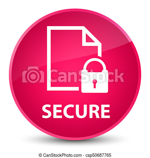 Secure (document page padlock icon) elegant pink round button - csp50687765