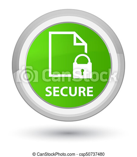Secure (document page padlock icon) prime soft green round button - csp50737480