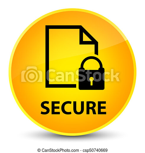 Secure (document page padlock icon) elegant yellow round button - csp50740669