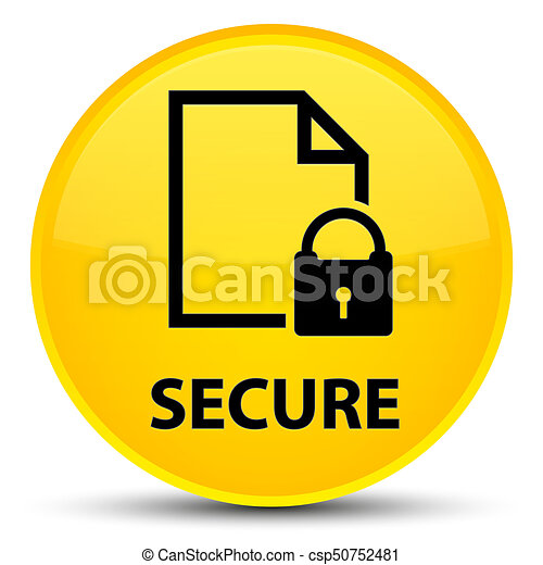 Secure (document page padlock icon) special yellow round button - csp50752481
