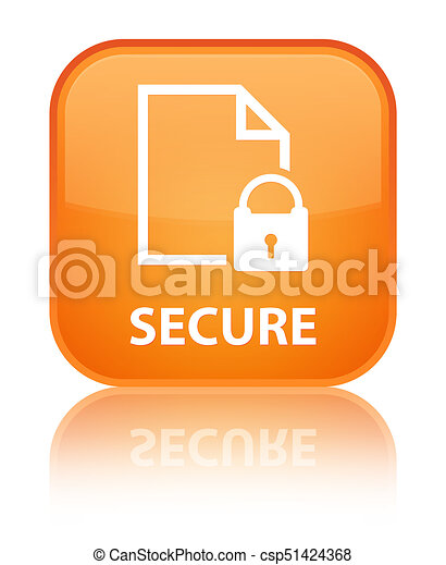 Secure (document page padlock icon) special orange square button - csp51424368