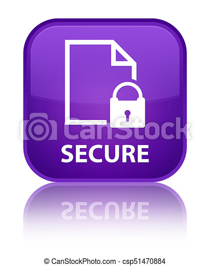 Secure (document page padlock icon) special purple square button - csp51470884