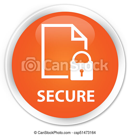 Secure (document page padlock icon) premium orange round button - csp51473164
