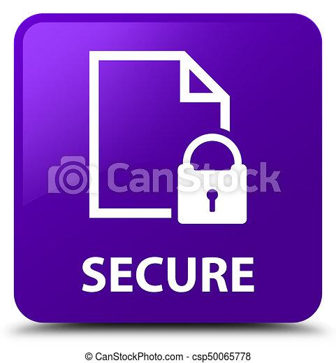 Secure (document page padlock icon) purple square button - csp50065778