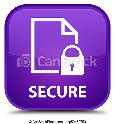 Secure (document page padlock icon) special purple square button - csp50480753
