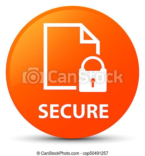 Secure (document page padlock icon) orange round button - csp50491257