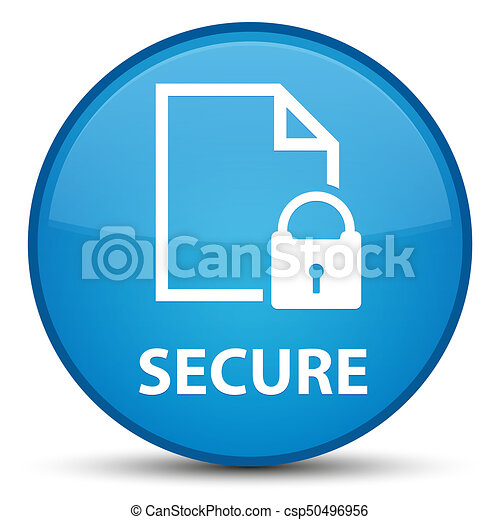 Secure (document page padlock icon) special cyan blue round button - csp50496956