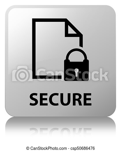 Secure (document page padlock icon) white square button - csp50686476