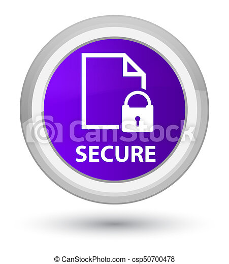 Secure (document page padlock icon) prime purple round button - csp50700478