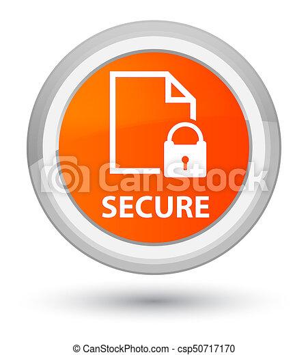 Secure (document page padlock icon) prime orange round button - csp50717170