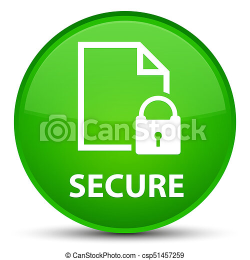 Secure (document page padlock icon) special green round button - csp51457259
